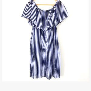 J.Crew Blue/White striped ruffle off the shoulder